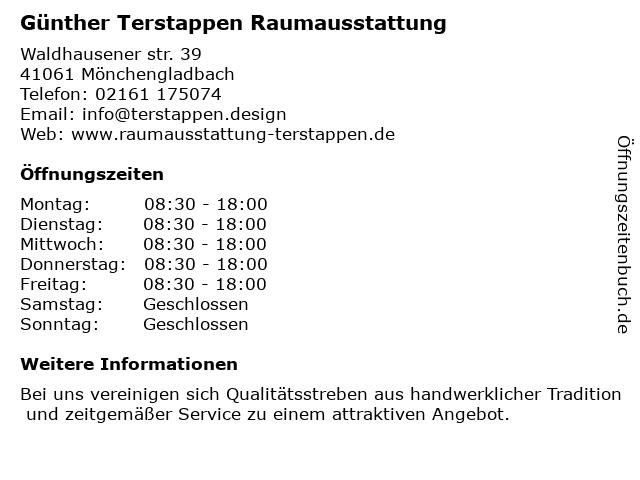 Günther Terstappen Raumausstattung in Mönchengladbach: Adresse und Öffnungszeiten