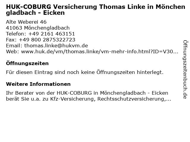 HUK-COBURG Versicherung Thomas Linke in Mönchengladbach - Eicken in Mönchengladbach: Adresse und Öffnungszeiten