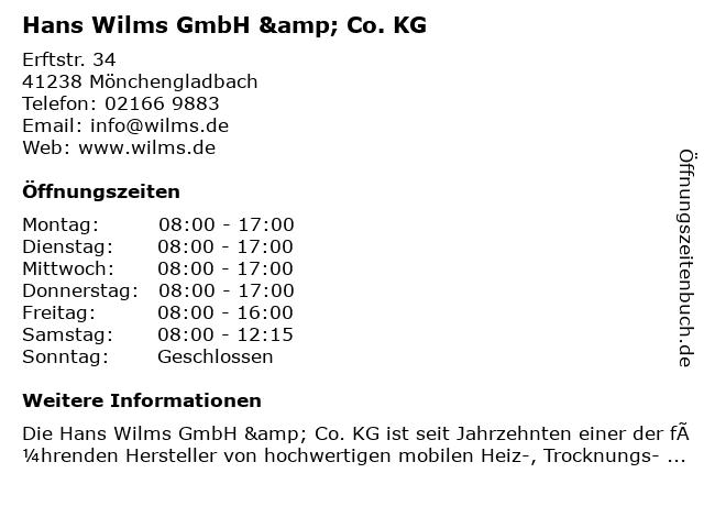 Hans Wilms GmbH & Co. KG in Mönchengladbach: Adresse und Öffnungszeiten