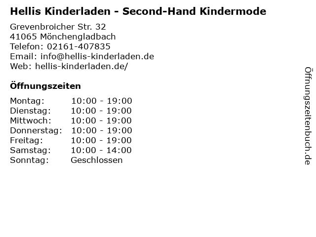 Hellis Kinderladen - Second-Hand Kindermode in Mönchengladbach: Adresse und Öffnungszeiten