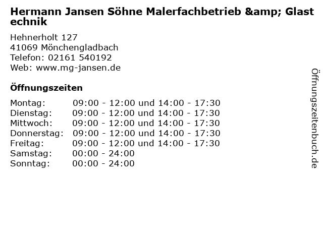 Hermann Jansen Söhne Malerfachbetrieb & Glastechnik in Mönchengladbach: Adresse und Öffnungszeiten