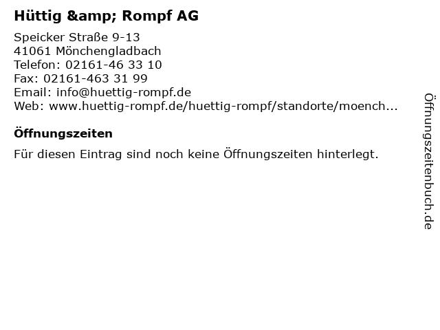 Hüttig & Rompf AG in Mönchengladbach: Adresse und Öffnungszeiten