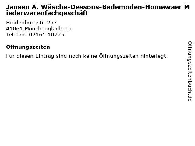Jansen A. Wäsche-Dessous-Bademoden-Homewaer Miederwarenfachgeschäft in Mönchengladbach: Adresse und Öffnungszeiten
