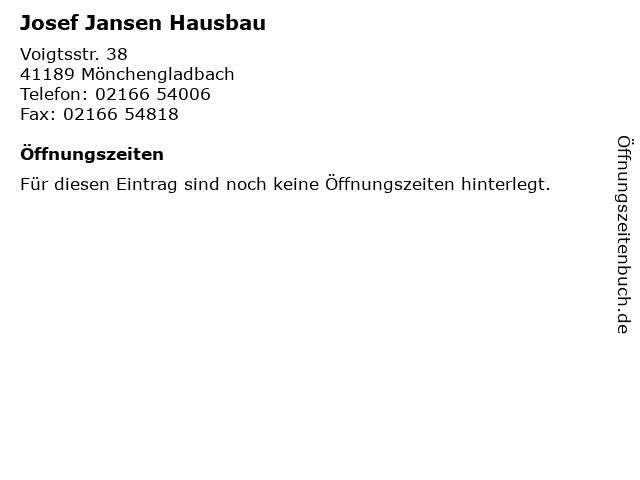 Josef Jansen Hausbau in Mönchengladbach: Adresse und Öffnungszeiten