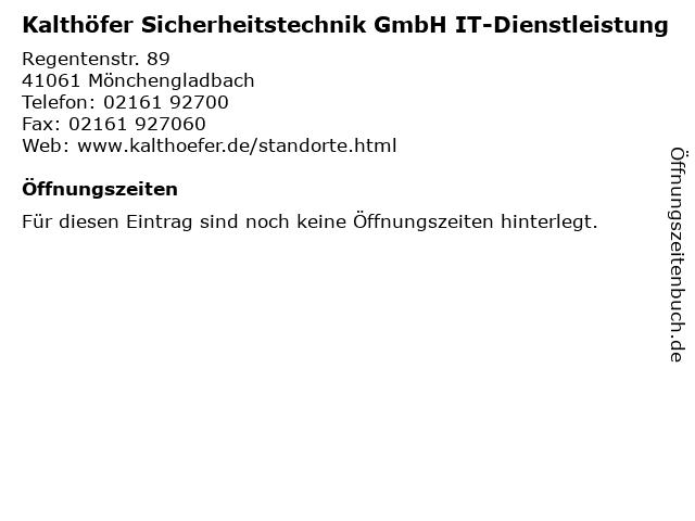 Kalthöfer Sicherheitstechnik GmbH IT-Dienstleistung in Mönchengladbach: Adresse und Öffnungszeiten