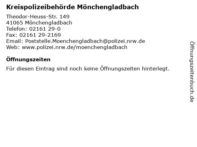 Kreispolizeibehörde Mönchengladbach in Mönchengladbach: Adresse und Öffnungszeiten