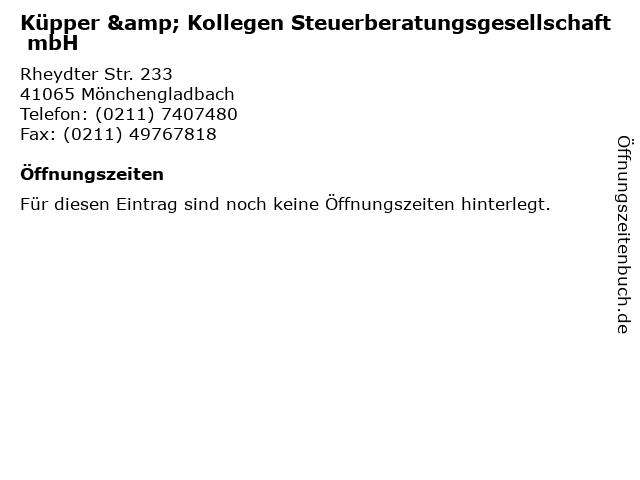 Küpper & Kollegen Steuerberatungsgesellschaft mbH in Mönchengladbach: Adresse und Öffnungszeiten