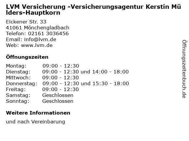LVM Versicherung -Versicherungsagentur Kerstin Mülders-Hauptkorn in Mönchengladbach: Adresse und Öffnungszeiten