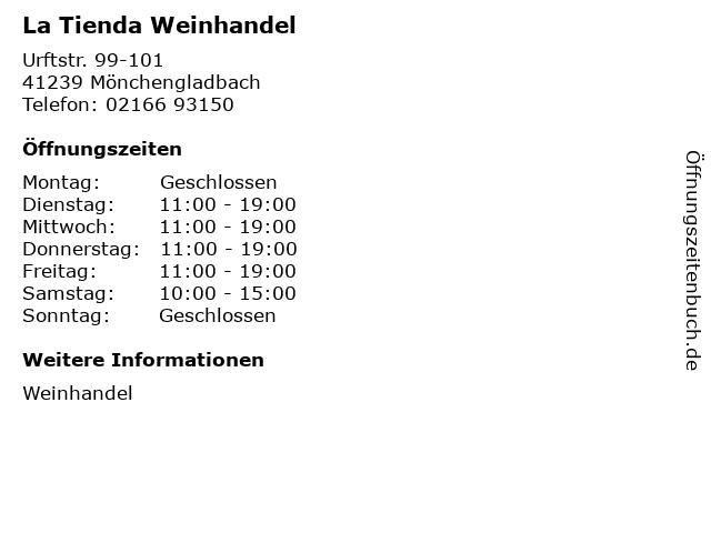 La Tienda Weinhandel in Mönchengladbach: Adresse und Öffnungszeiten