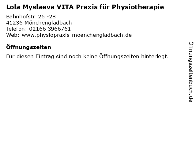 Lola Myslaeva VITA Praxis für Physiotherapie in Mönchengladbach: Adresse und Öffnungszeiten