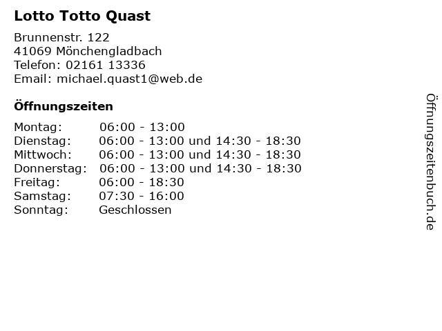 Lotto Totto Quast in Mönchengladbach: Adresse und Öffnungszeiten