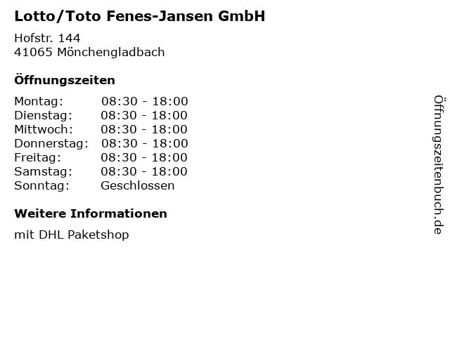 Lotto/Toto Fenes-Jansen GmbH in Mönchengladbach: Adresse und Öffnungszeiten