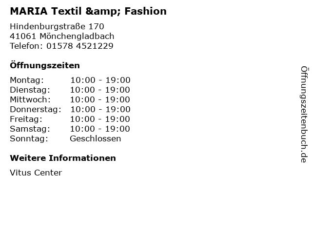 MARIA Textil & Fashion in Mönchengladbach: Adresse und Öffnungszeiten