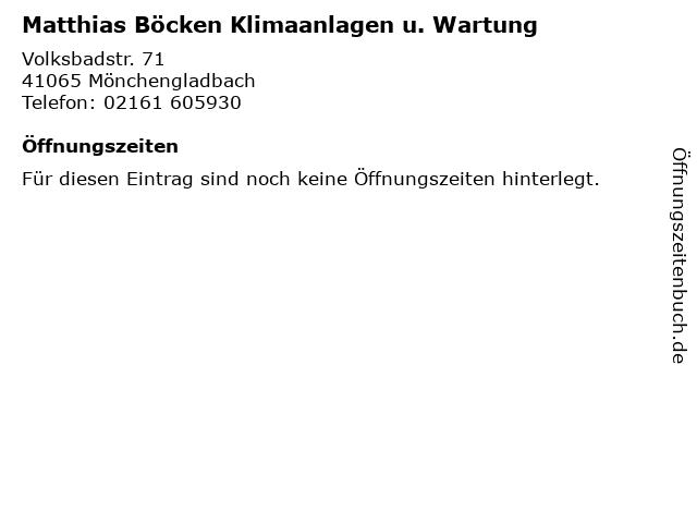 Matthias Böcken Klimaanlagen u. Wartung in Mönchengladbach: Adresse und Öffnungszeiten