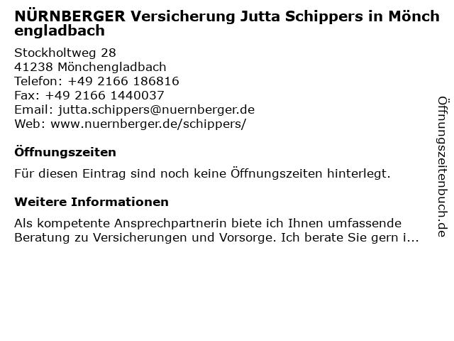 NÜRNBERGER Versicherung Jutta Schippers in Mönchengladbach in Mönchengladbach: Adresse und Öffnungszeiten