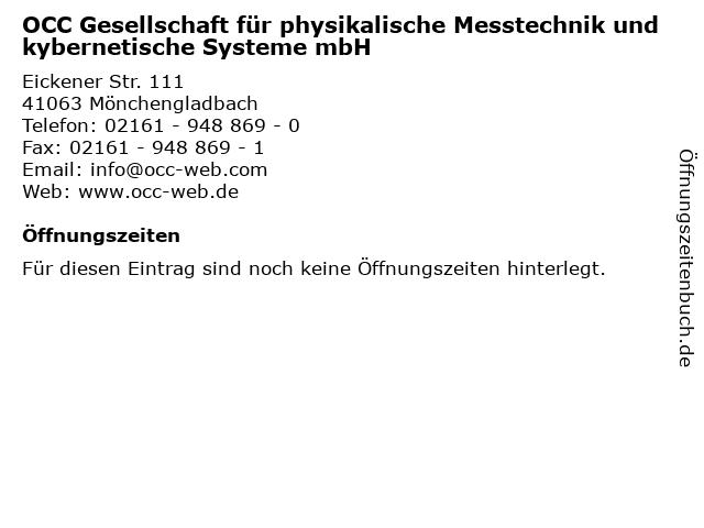OCC Gesellschaft für physikalische Messtechnik und kybernetische Systeme mbH in Mönchengladbach: Adresse und Öffnungszeiten