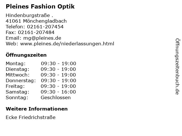 Pleines Fashion Optik in Mönchengladbach: Adresse und Öffnungszeiten