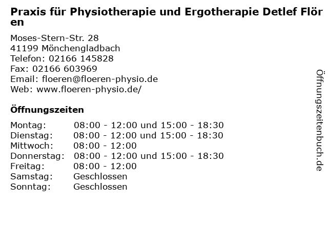 Praxis für Physiotherapie und Ergotherapie Detlef Flören in Mönchengladbach: Adresse und Öffnungszeiten