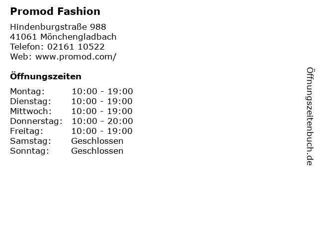 Promod Fashion in Mönchengladbach: Adresse und Öffnungszeiten