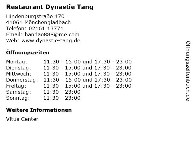 Restaurant Dynastie Tang in Mönchengladbach: Adresse und Öffnungszeiten