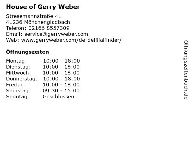 HOUSE OF GERRY WEBER in Mönchengladbach-Rheydt: Adresse und Öffnungszeiten
