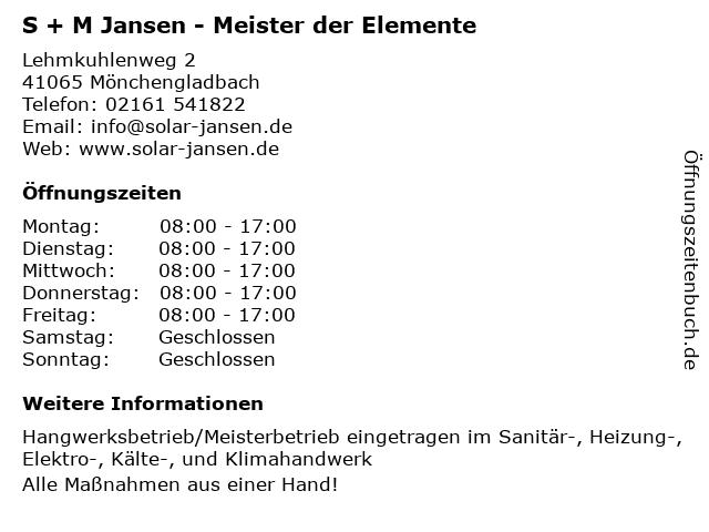 S + M Jansen - Meister der Elemente in Mönchengladbach: Adresse und Öffnungszeiten
