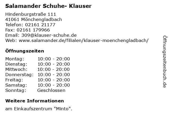 Schuhhaus Klauser GmbH & Co. KG in Mönchengladbach: Adresse und Öffnungszeiten