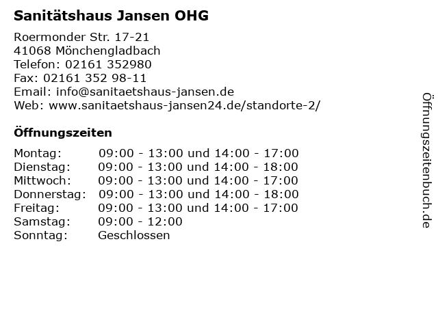 Sanitätshaus Jansen OHG in Mönchengladbach: Adresse und Öffnungszeiten