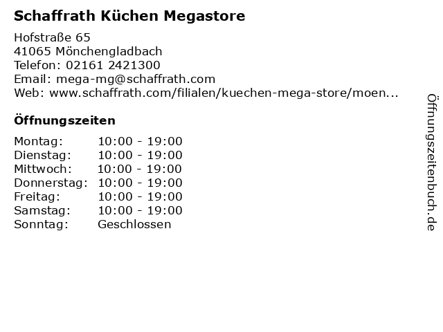 ᐅ Öffnungszeiten Schaffrath Küchen Megastore | Hofstraße 65 in ...