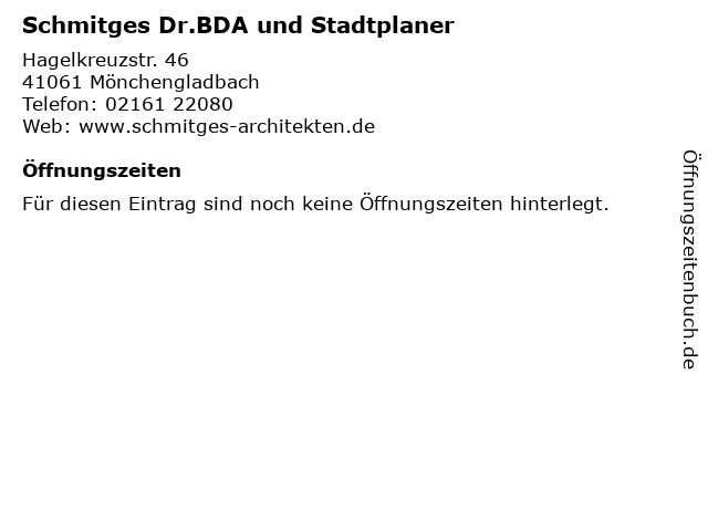 Schmitges Dr.BDA und Stadtplaner in Mönchengladbach: Adresse und Öffnungszeiten