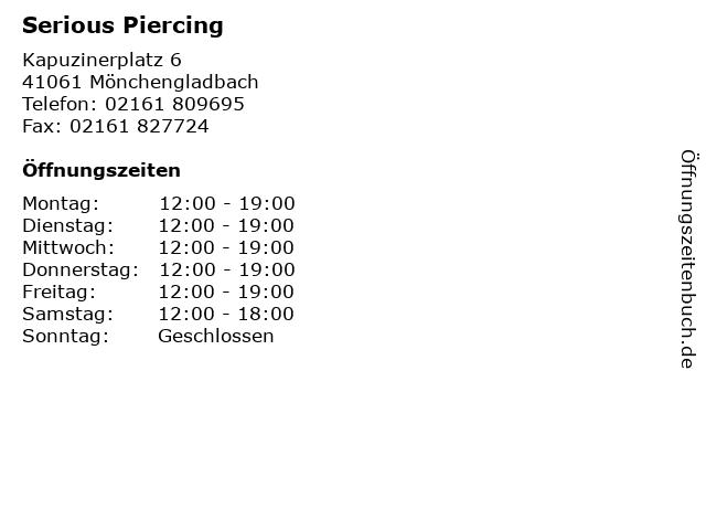Serious Piercing in Mönchengladbach: Adresse und Öffnungszeiten
