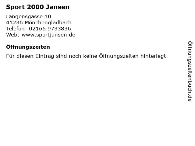 Sport 2000 Jansen in Mönchengladbach: Adresse und Öffnungszeiten