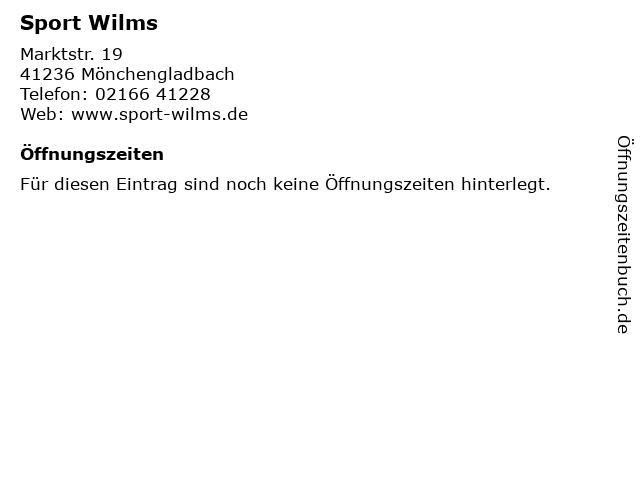 Sport Wilms in Mönchengladbach: Adresse und Öffnungszeiten