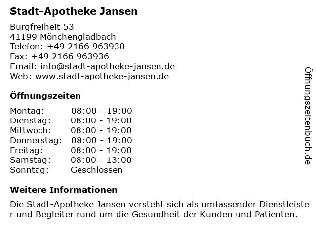 Stadtapotheke Jansen in Mönchengladbach: Adresse und Öffnungszeiten