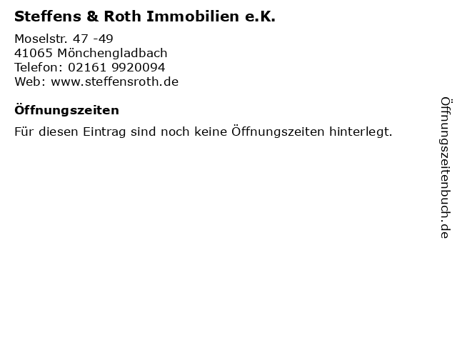 Steffens & Roth Immobilien e.K. in Mönchengladbach: Adresse und Öffnungszeiten