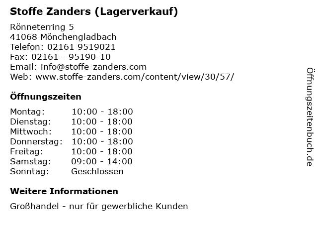 ᐅ öffnungszeiten Stoffe Zanders Lagerverkauf Rönneterring 5