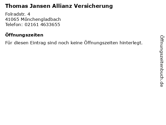 Thomas Jansen Allianz Versicherung in Mönchengladbach: Adresse und Öffnungszeiten