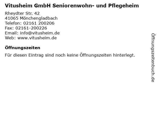 Vitusheim GmbH Seniorenwohn- und Pflegeheim in Mönchengladbach: Adresse und Öffnungszeiten