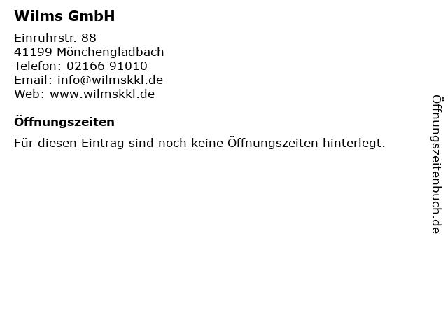 Wilms GmbH in Mönchengladbach: Adresse und Öffnungszeiten
