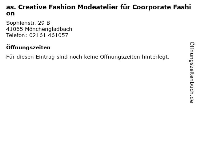 as. Creative Fashion Modeatelier für Coorporate Fashion in Mönchengladbach: Adresse und Öffnungszeiten