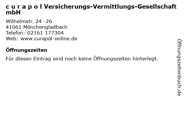 c u r a p o l Versicherungs-Vermittlungs-Gesellschaft mbH in Mönchengladbach: Adresse und Öffnungszeiten