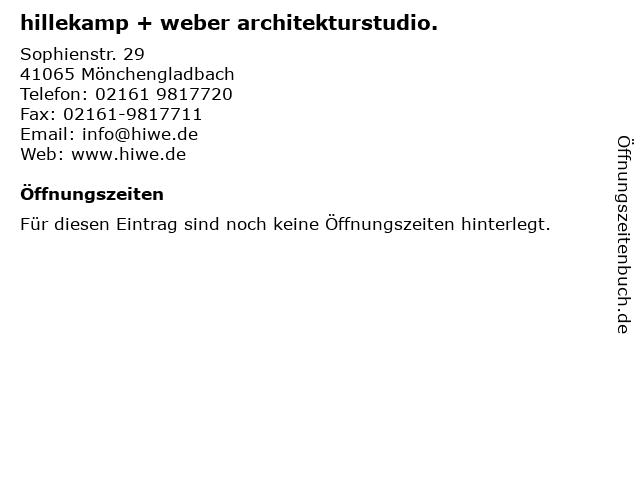 hillekamp + weber architekturstudio. in Mönchengladbach: Adresse und Öffnungszeiten