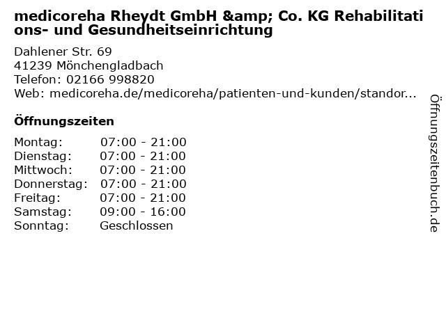 medicoreha Rheydt GmbH & Co. KG Rehabilitations- und Gesundheitseinrichtung in Mönchengladbach: Adresse und Öffnungszeiten