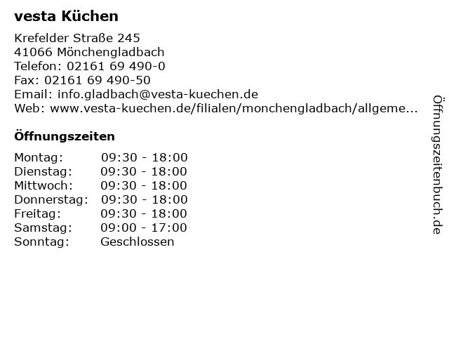 ᐅ Offnungszeiten Vesta Kuchen Krefelder Strasse 245 In
