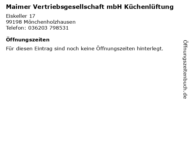 Maimer Vertriebsgesellschaft mbH Küchenlüftung in Mönchenholzhausen: Adresse und Öffnungszeiten