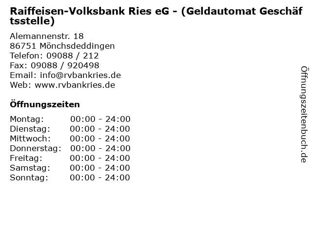 Raiffeisen-Volksbank Ries eG - (Geldautomat Geschäftsstelle) in Mönchsdeddingen: Adresse und Öffnungszeiten