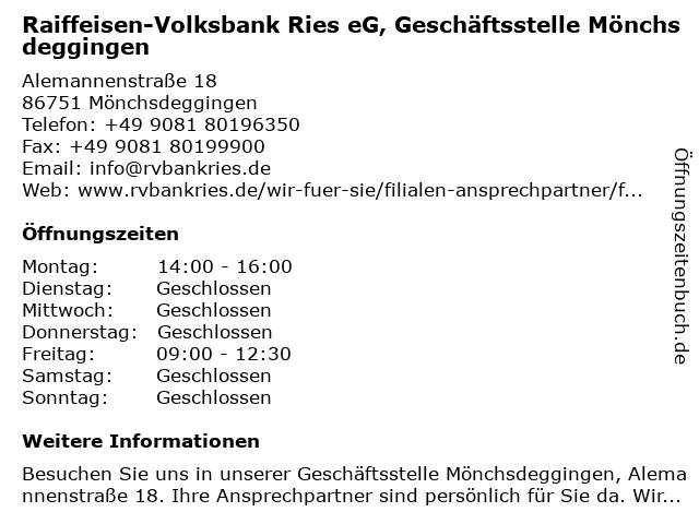 Raiffeisen-Volksbank Ries eG, Geschäftsstelle Mönchsdeggingen in Mönchsdeggingen: Adresse und Öffnungszeiten