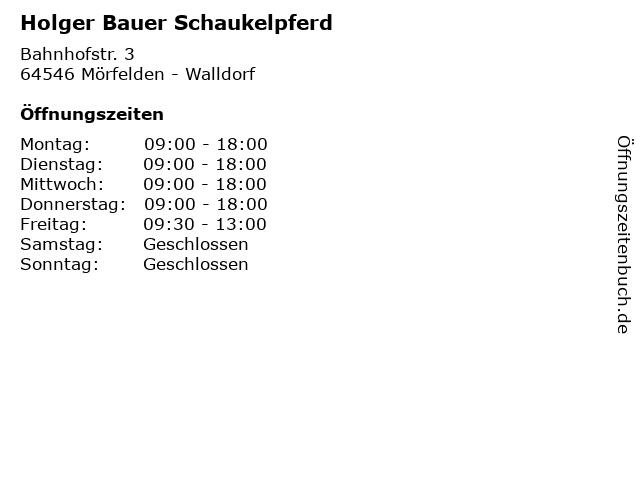 Holger Bauer Schaukelpferd in Mörfelden - Walldorf: Adresse und Öffnungszeiten