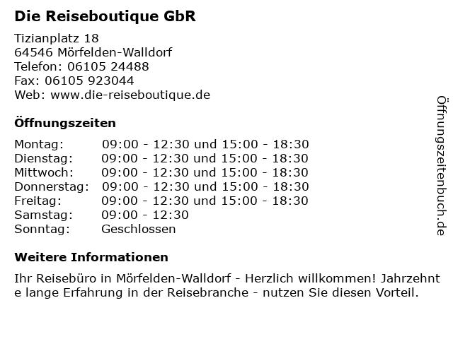Die Reiseboutique GbR in Mörfelden-Walldorf: Adresse und Öffnungszeiten