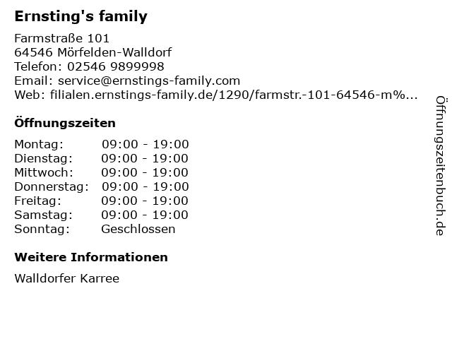 Ernsting's family GmbH & Co. KG in Mörfelden-Walldorf: Adresse und Öffnungszeiten